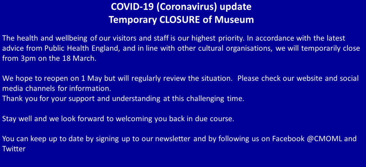 CoronavirusCLOSURE NOTICE